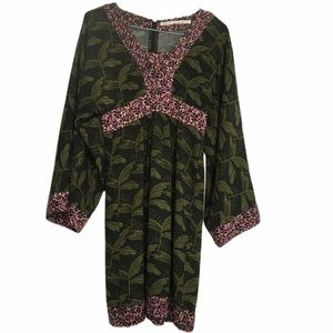Rachel Roy Boho Olive Green Wide Sleeve Dress 0